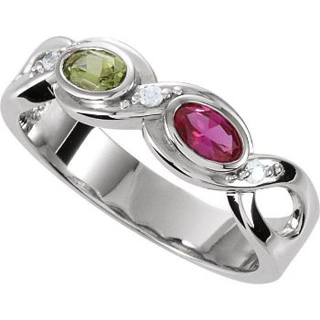 Picture of Silver 1 to 5 Oval Stones Mother's Ring