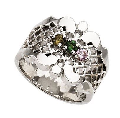 Picture of Silver 1 to 7 Round Stone Mother's Ring