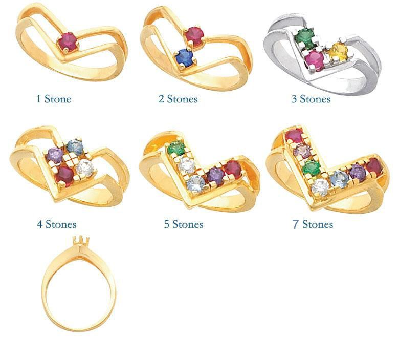 Picture of Silver 1 to 7 Round Stones Mother's Ring
