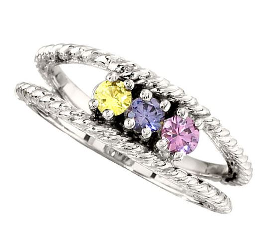 Picture of Silver 2 to 12 Round Stones Mother's Ring