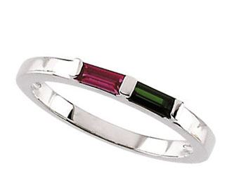 Picture of Silver 1 to 3 Baguette Stones Stackable Mother's Ring