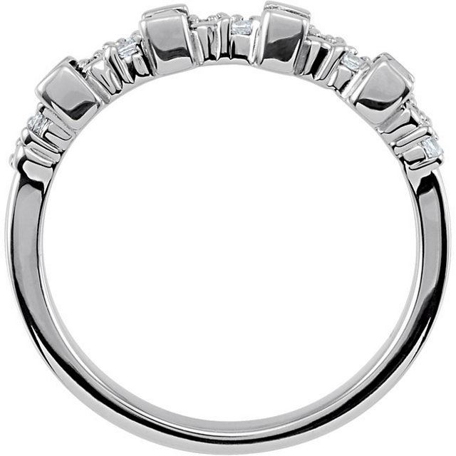 Picture of Silver 1 to 6 Baguette Stones Mother's Ring
