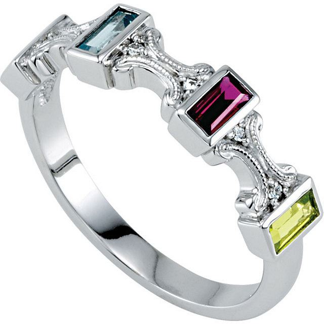 Picture of Silver 3 to 5 Baguette Stones Mother's Ring
