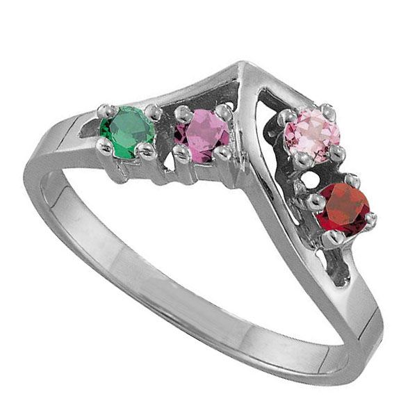 Picture of E. 1 to 5 Round SIMULATED Stones Mother's Ring