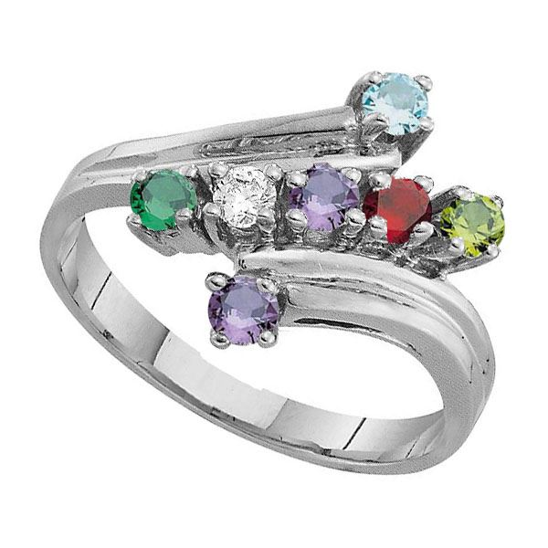 Picture of G. 2 to 7 Round GENUINE Stones Mother's Ring