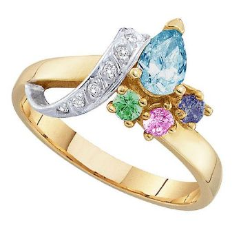 Picture of L. 2 to 7 Round GENUINE Stones Mother's Ring