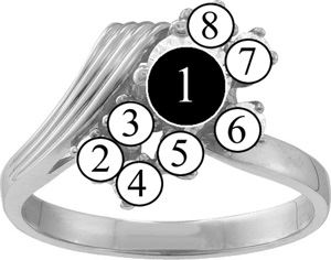 Picture of O. 2 to 9 Round GENUINE Stones Mother's Ring