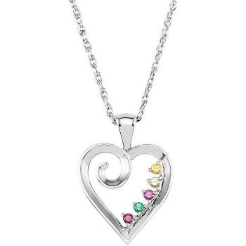 Picture of Silver 1 to 6 Stones Mother's Pendant