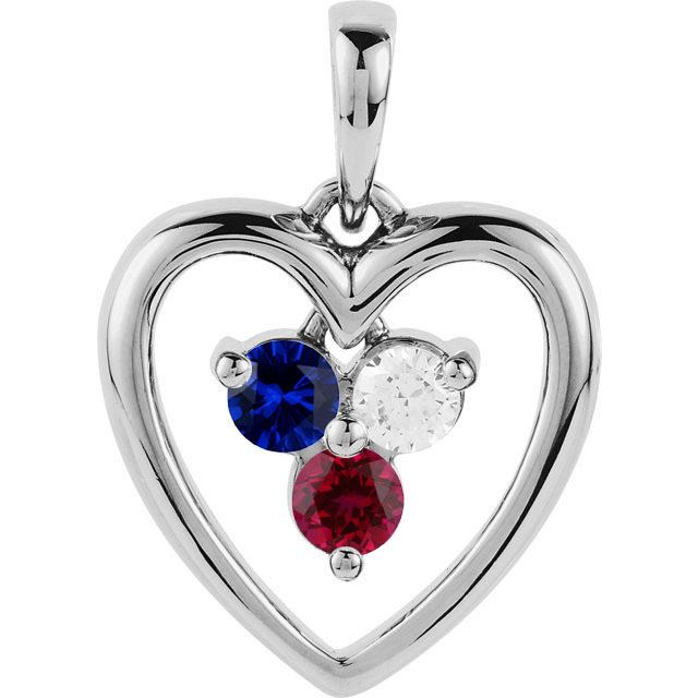 Picture of Silver Heart 3 Round Stones Mother's Pendant