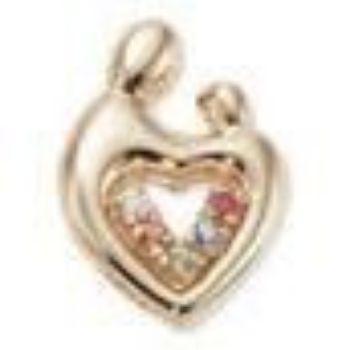 Picture of 14K Gold 1 to 5 Stones Large Mother Child Heart Pendant