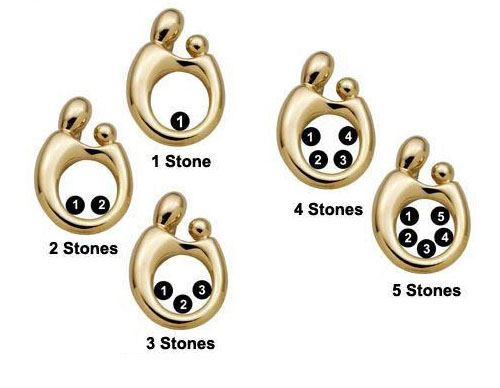 Picture of 14K Gold 1 to 5 Stones Large Mother Child Pendant
