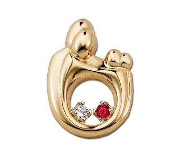 Picture of 14K Gold 2 Stones Family Twin Pendant