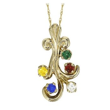 Picture of Gold 1 to 5 Round Stones Mother's Pendant