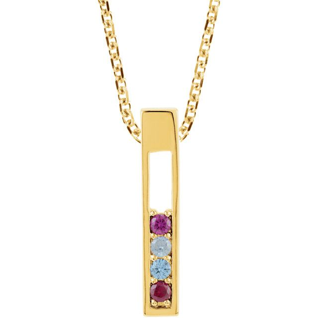 Picture of Gold 1 to 6 Round Stones Mother's Pendant