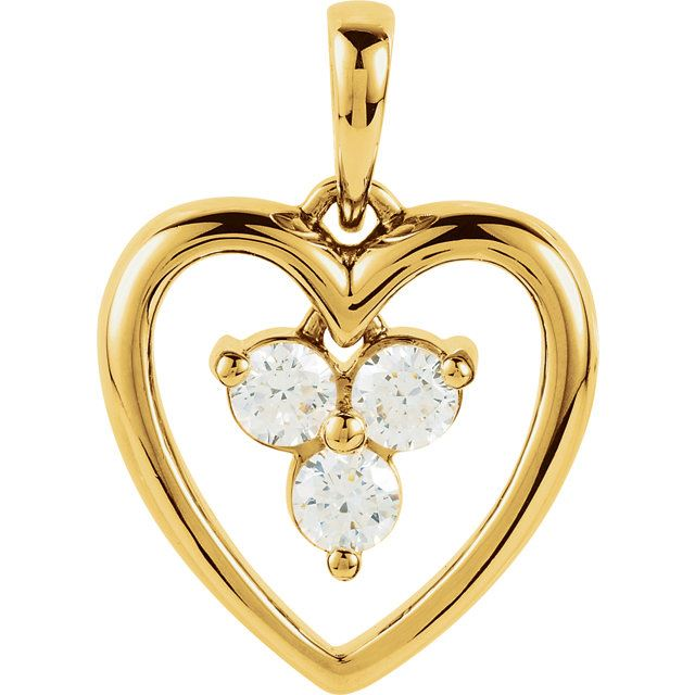 Picture of Gold Heart 3 Stones Mother's Pendant