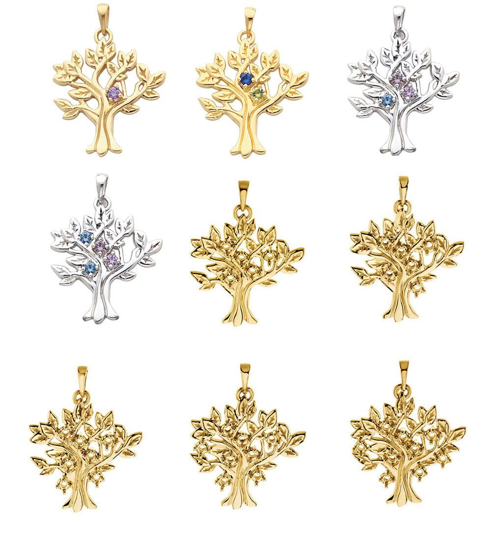 Picture of Gold 1 to 9 Stones Mother's Tree Pendant