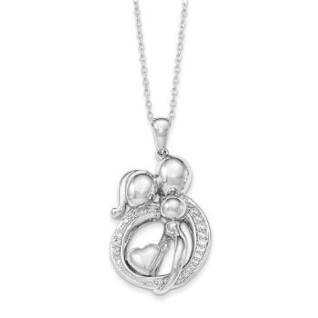 Picture of Parents and One Child Family Of Gathering Silver CZ Necklace