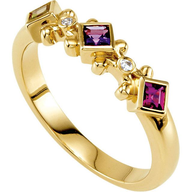 Picture of Gold 3 to 5 Square Stones Mother's Ring