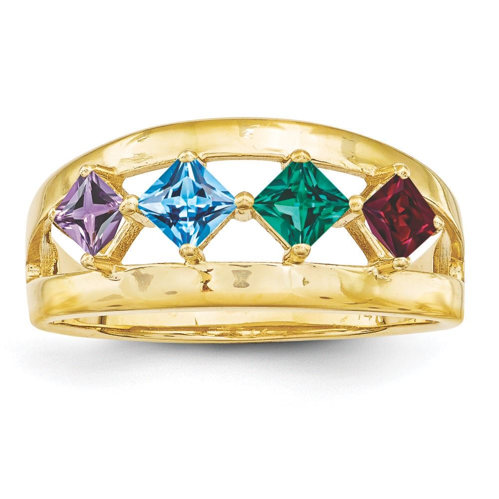 Picture of 14K Gold 1 to 4 Square Stones Mother's Ring