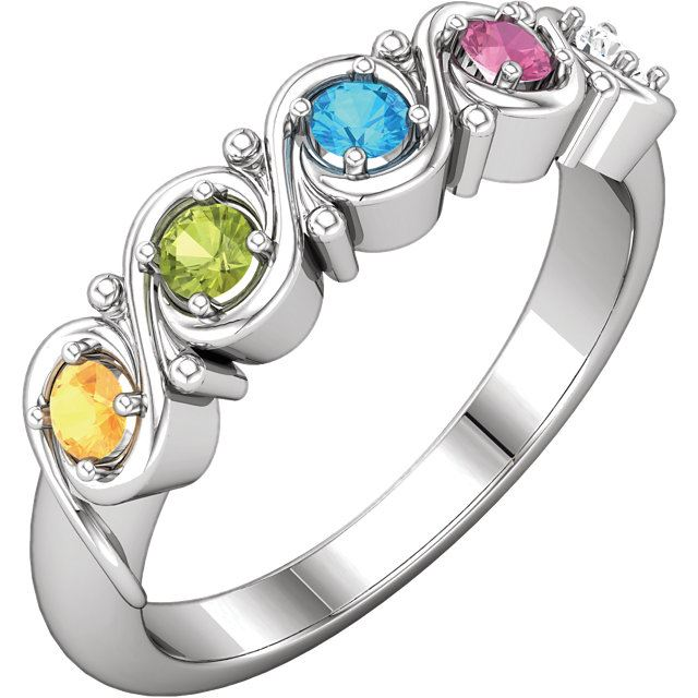 Picture of Silver 1 to 5 Round Stones Mother's Ring