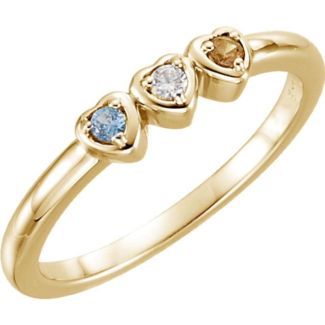Picture of 14K Gold 1 to 5 Stones Mother's Ring