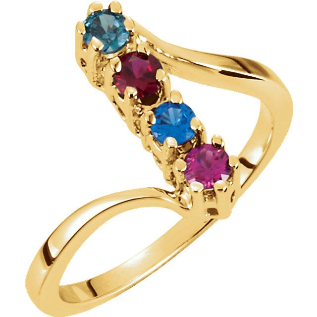 Picture of Gold 1 to 8 Round Stones Mother's Ring
