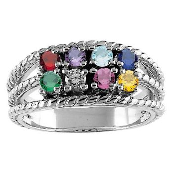 Picture of Silver 8 Round Stones Mother's Ring