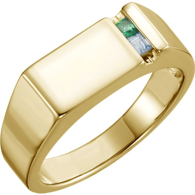 Picture of 14K Gold 1 to 6 Square Stones Ring for Dad