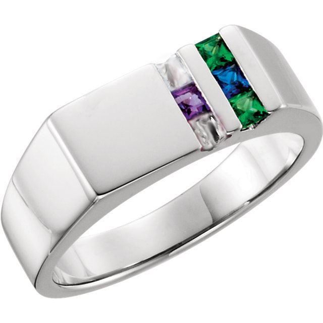 Picture of Silver 1 to 6 Square Stones Ring for Dad