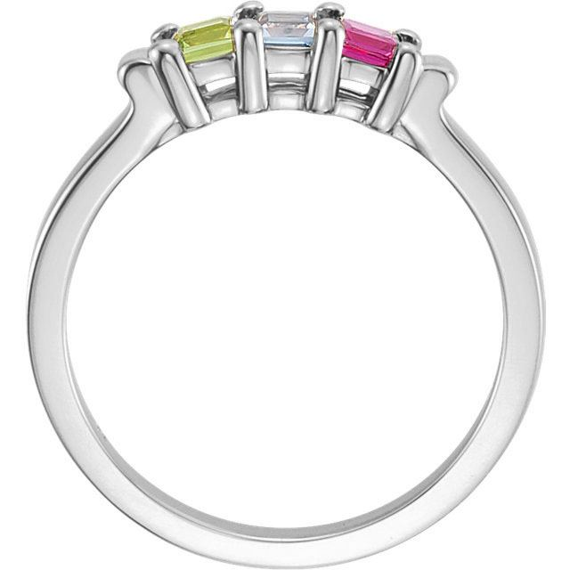Picture of Silver 1 to 5 Square Stones Mother's Ring