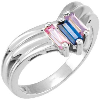 Picture of Silver 2 to 6 Baguette Stones Mother's Ring