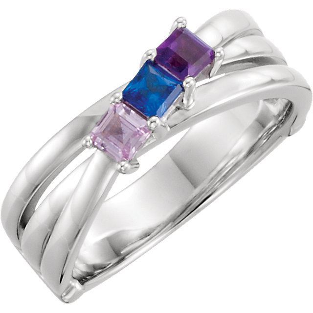Picture of Silver 1 to 3 Square Stones Mother's Ring