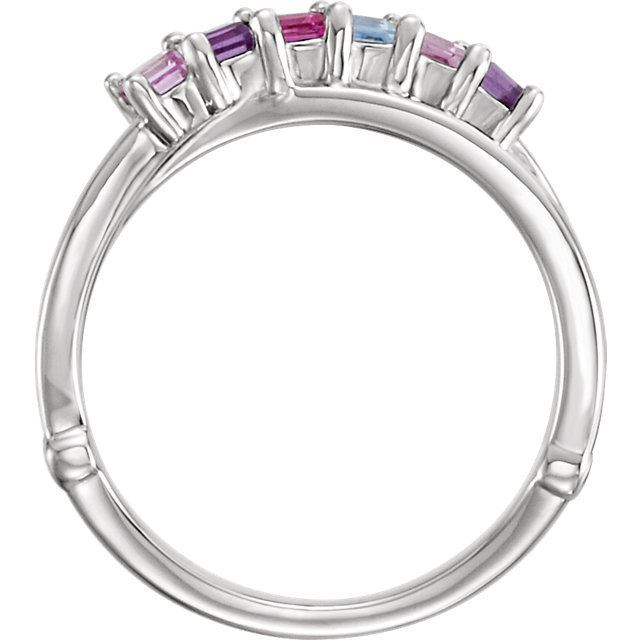 Picture of Silver 4 to 6 Square Stones Mother's Ring