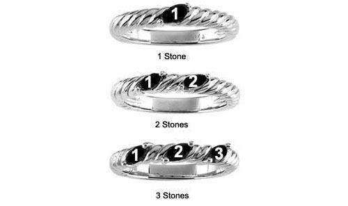 Picture of Silver 1 to 3 Marquise Stones Mother's Ring