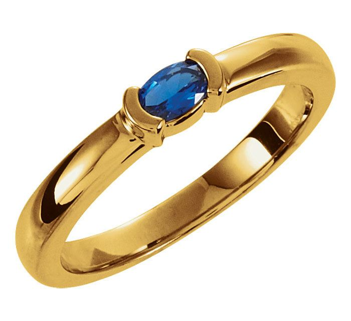Picture of Gold 1 Oval Stone Stackable Mother's Ring