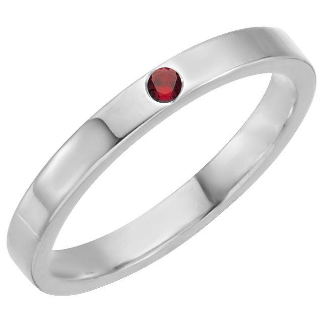 Picture of Silver 1 Stone Stackable Mother's Ring