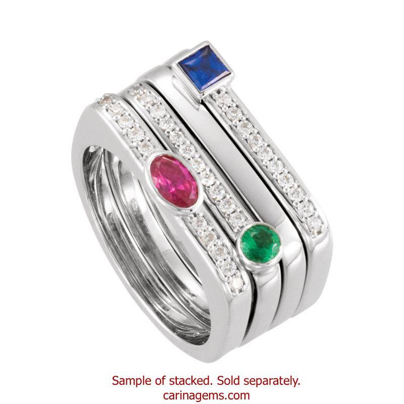 Picture of Silver 1 Square Stone Stackable Mother's Ring