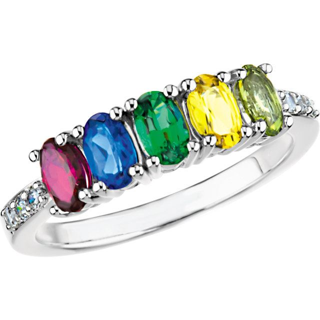 Picture of Silver 4 to 5 Oval Stones Mother's Ring
