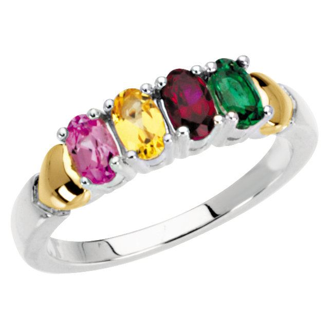 Picture of 14K and Silver 4 to 5 Oval Stones Mother's Ring