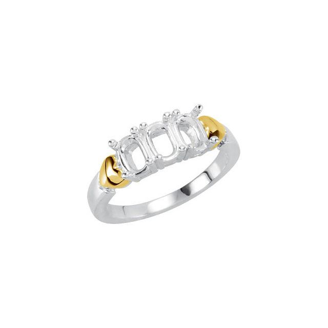 Picture of 14K and Silver 3 Oval Stones Mother's Ring