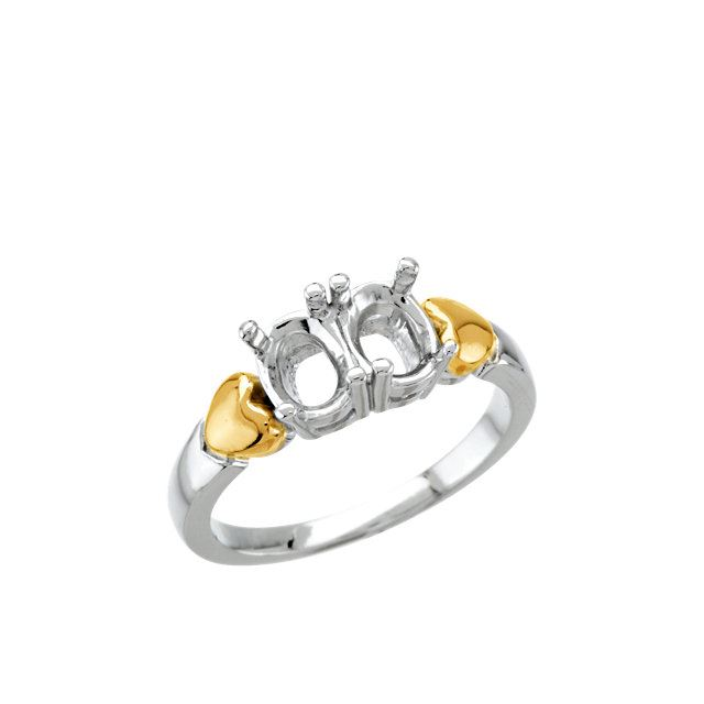 Picture of 14K and Silver 2 Oval Stones Mother's Ring
