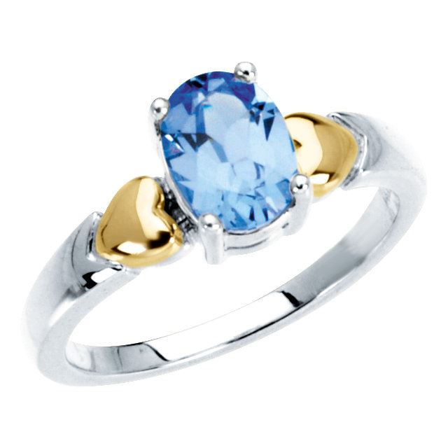 Picture of 14K and Silver 1 Oval Stone Mother's Ring