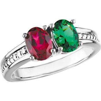 Picture of Silver 2 Oval Stones Mother's Ring