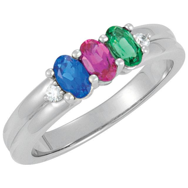 Picture of Silver 3 Oval Stones Mother's Ring