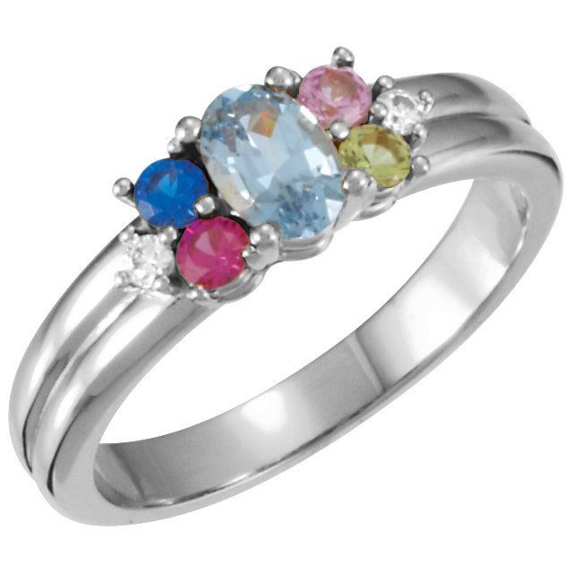 Picture of Silver 5 Birthstones Mother's Ring