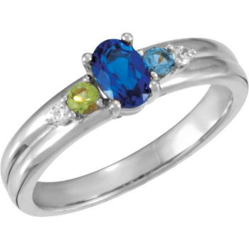 Picture of Silver 3 Birthstones Mother's Ring