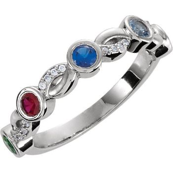 Picture of Silver 5 Stones Stackable Mother's Ring