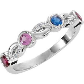 Picture of Silver 4 Stones Stackable Mother's Ring