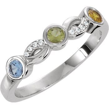 Picture of Silver 3 Stones Stackable Mother's Ring
