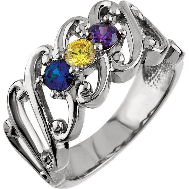 Picture of Silver 3 to 5 Round Stones Mother's Ring